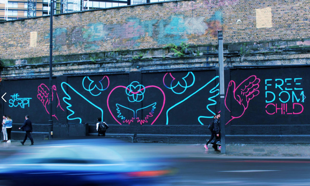 This Script Freedom Child wall mural London design wings AMP Visual