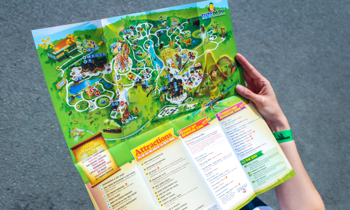 Tayto Park Map Brochure Design AMP Visual Dublin Theme Park Branding and Design