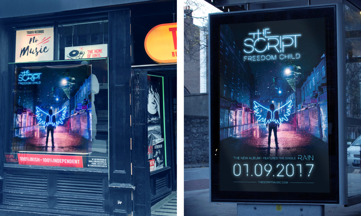 The Script - Freedom Child, In-Store and Bus Shelter Poster Design.